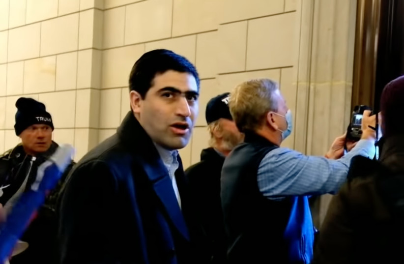 Elliot Resnick, the chief editor of the Jewish Press, was among the Capitol rioters on Jan. 6.  (photo credit: SCREENSHOT FROM YOUTUBE/JTA)