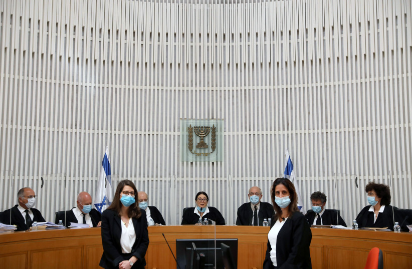 THE SUPREME Court holds a hearing last year in Jerusalem. (photo credit: ABIR SULTAN / REUTERS)