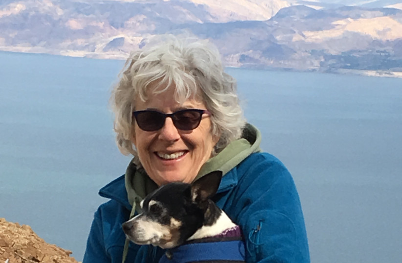 JESSICA SANDLER and dog Louie above the Dead Sea.   (photo credit: RENEE DEMPSTER)