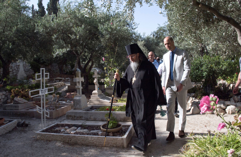 Britain's Prince William visits the Church of St Mary Magdalene, a Russian Orthodox church located on the Mount of Olives, near the Garden of Gethsemane, where he paid his respects at the tomb of his great-grandmother, Princess Alice, in east Jerusalem, Israel, June 28, 2018. (photo credit: REUTERS)