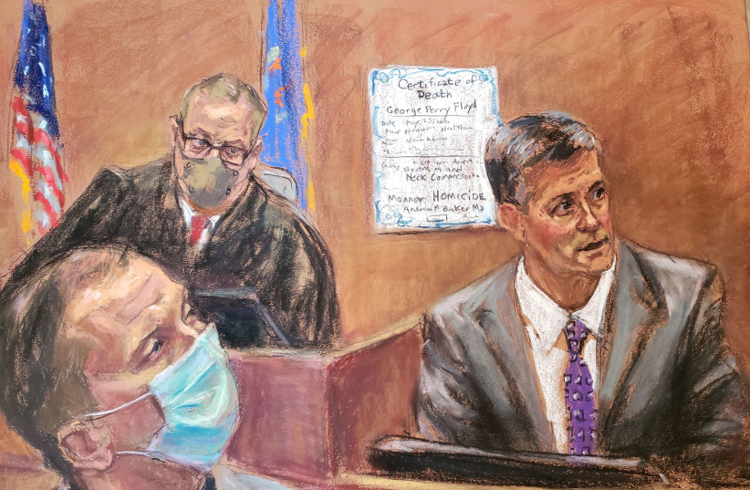 Hennepin County medical examiner Dr. Andrew Baker testifies on the tenth day of the trial of former Minneapolis police officer Derek Chauvin for second-degree murder, third-degree murder and second-degree manslaughter in the death of George Floyd in Minneapolis, Minnesota, U.S. April 9, 2021 in this (photo credit: JANE ROSENBERG/REUTERS)