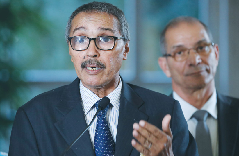 KHATRI ADDOUH, leader of the Sahrawi delegation and Frente Polisario, attends a news conference after a 2018 roundtable on Western Sahara at the UN in Geneva. (photo credit: DENIS BALIBOUSE / REUTERS)