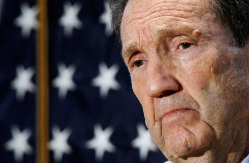 Former US attorney-general Ramsey Clark holds a discussion on the probability of a death or life sentence for Saddam Hussein in Washington October 5, 2006. (photo credit: JIM YOUNG/REUTERS)