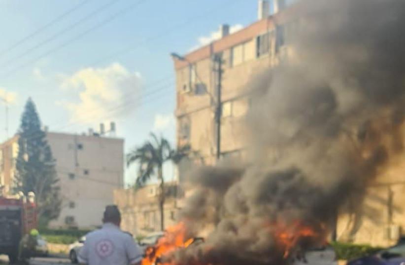 The scene of the explosion in Holon, April 11, 2021. (photo credit: MAGEN DAVID ADOM)