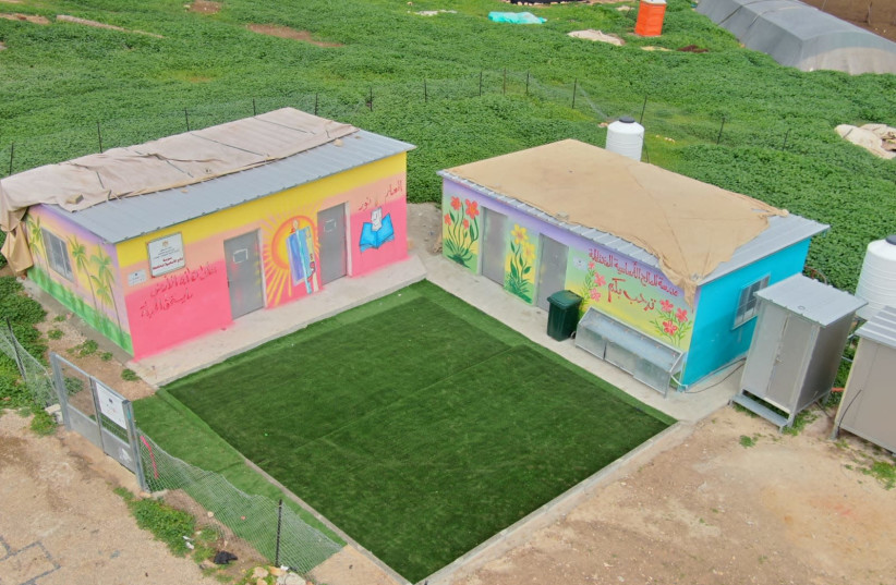 Palestinian school built in the Barak Nature Preserve in Area C of the West Bank. (photo credit: REGAVIM)