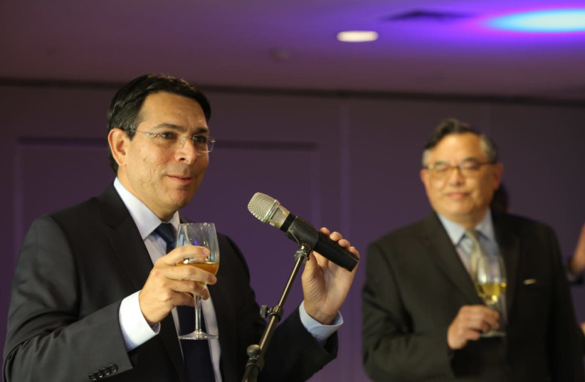 Danny Danon, Israel's former ambassador to the UN, speaks at a diplomatic event marking Israel's 73rd birthday, Tel Aviv Hilton, April 11, 2021 (photo credit: OREN COHEN)