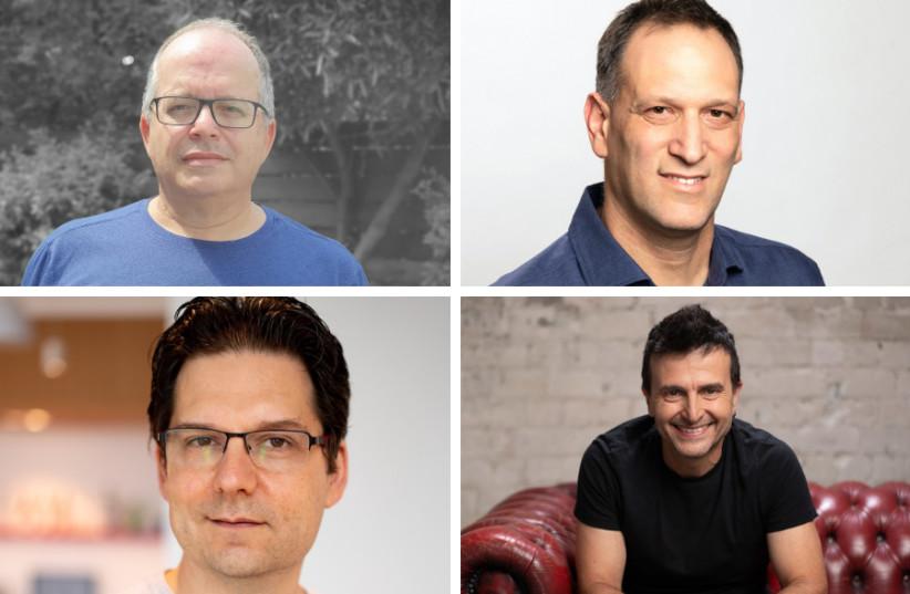 Photo: Clockwise from top left: Tipalti co-founder Chen Amit, Namogoo co-founder Chemi Katz, CommBox co-founder Eli Israelov, and Gong.io co-founder Eilon Reshef. (photo credit: COURTESY/RAMI ZARNEGAR/YORAM RESHEF)