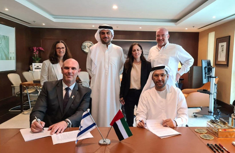 From left (front row) Yoel Hareven and Abdullah Saeed Al Naboodah; from left (back row) Galia Barkai, Marwan Ibrahim Haji Nasser, Keren Yaniv and Bruce Gurfein. (photo credit: Courtesy)