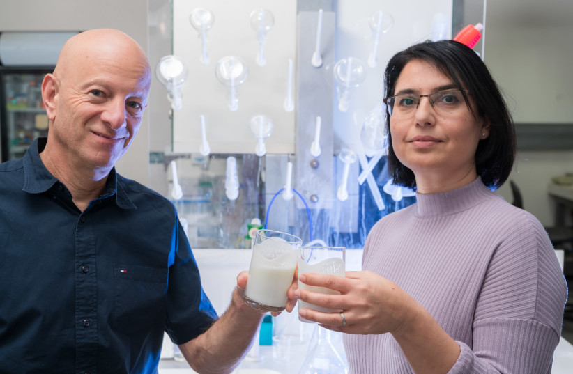 Prof. Raz Jelinek and Ms. Orit Malka with their unique probiotic yogurt at Ben-Gurion University laboratory. (photo credit: DANI MACHLIS)
