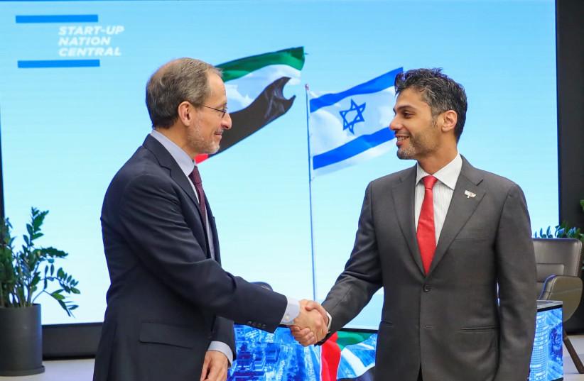 UAE Ambassador to Israel Mohamed al Khaja pictured next to CEO of Start-Up Nation Central Prof. Eugene Kandel. (photo credit: EYAL MARILIUS)