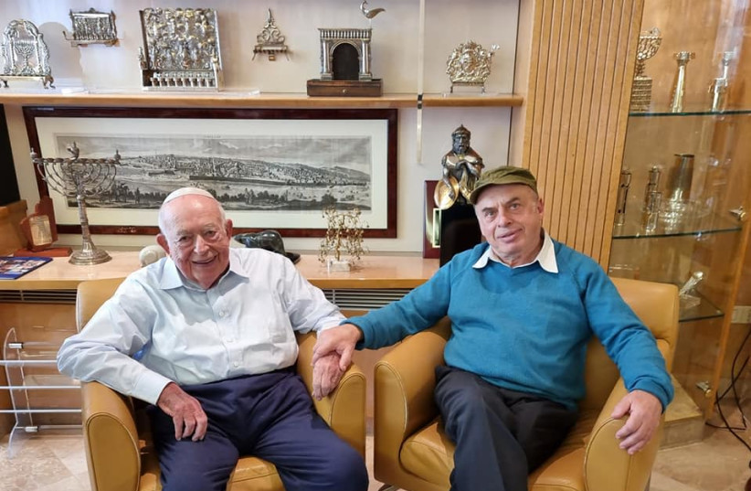 Isi Leibler with Natan Sharansky at his home in Jerusalem on March 9, 2021. (photo credit: LARISSA RUTHMAN)