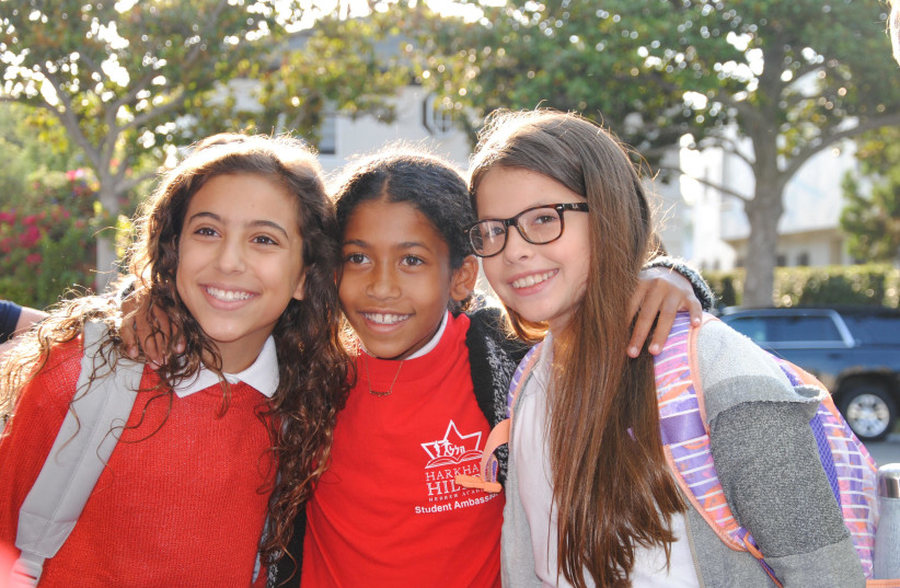 Jewish day schools have increasingly diverse student bodies, including at the Harkham Hillel Hebrew Academy in Beverly Hills, California. (photo credit: COURTESY OF PRIZMAH)
