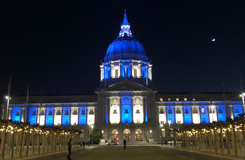 San Francisco, USA city hall illuminated in blue and white for Israel's 73rd Independence Day April 15, 2021. (photo credit: FOREIGN MINISTRY)