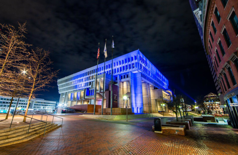 The Boston City Hall lights up in blue and white for Israel's 73rd Independence Day, April 15, 2021.  (photo credit: FOREIGN MINISTRY)