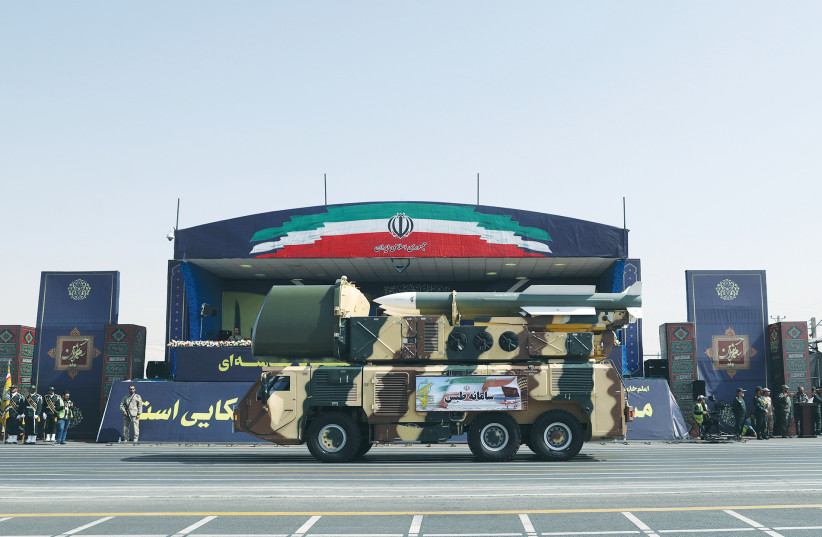 Missiles are displayed during Iran's National Army Day parade in Tehran in September 2019. (photo credit: WANA NEWS AGENCY/REUTERS)