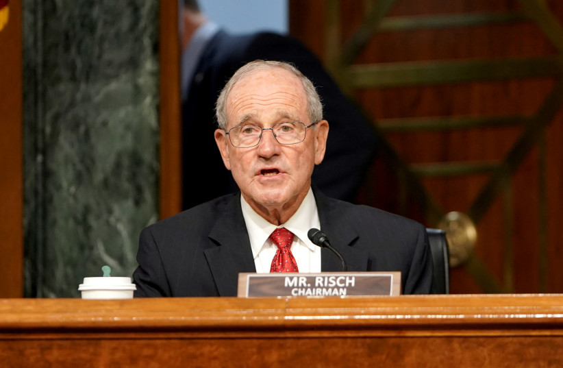 Committee chairman Jim Risch (R-ID) speaks during a Senate Foreign Relations Committee hearing in Washington, DC, US July 30, 2020. (photo credit: GREG NASH/POOL VIA REUTERS)