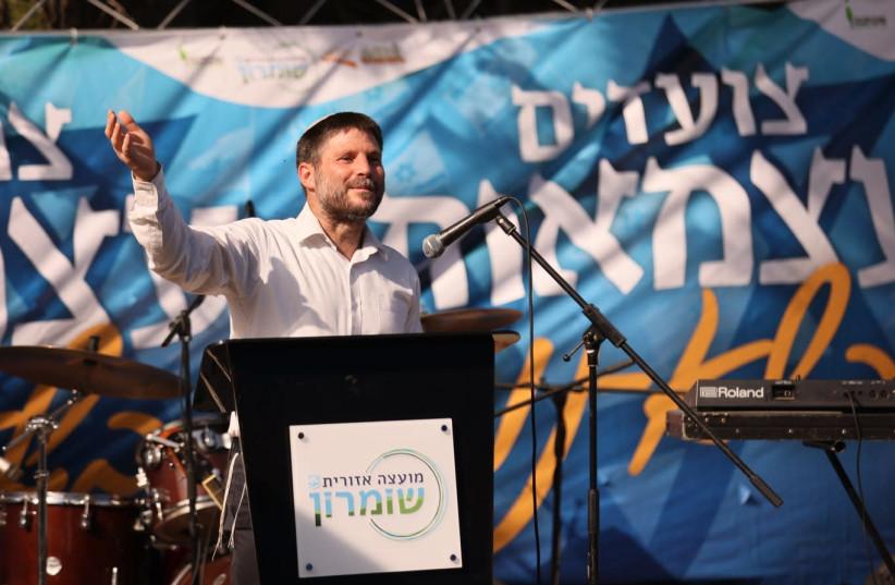 Religious Zionist party head Bezalel Smotrich in Sa-Nur, April 15, 2021.  (photo credit: ELICHAI MENACHEM)