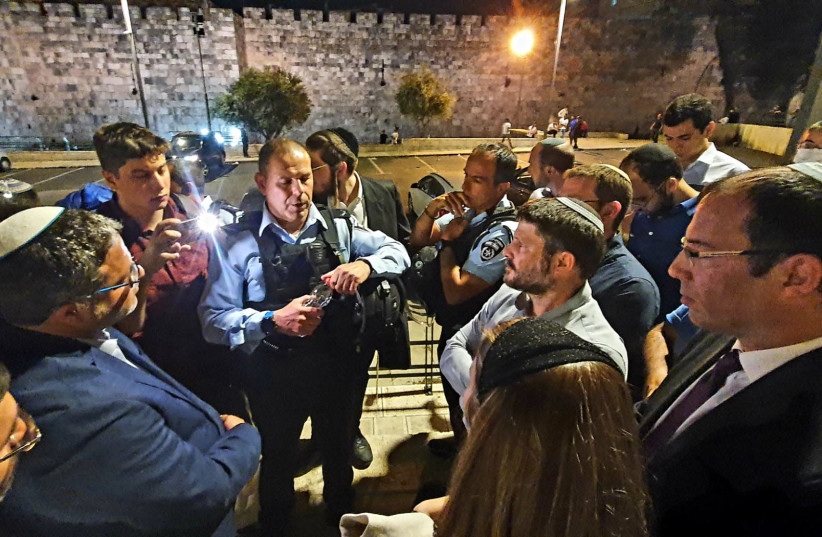 The Religious Zionist Party toured the area surrounding the Damascus Gate in Jerusalem after violent altercations threatened public and police on April 18th 2021. (photo credit: Courtesy)