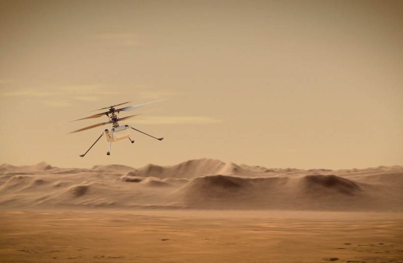 ngenuity Mars Helicopter flies over Mars in an undated illustration provided by Jet Propulsion Laboratory in Pasadena, California. NASA/JPL-Caltech/Handout (credit: NASA/JPL-CALTECH/HANDOUT VIA REUTERS)