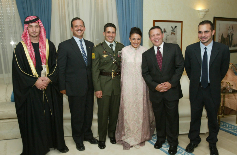 Jordan's King Abdullah (second right) poses with his brothers (left to right) Prince Hashem, Prince Faisel, Crown Prince Hamzah and Prince Ali (R) during a family photo after the marriage of Crown Prince Hamza to his bride Princess Noor at the Royal Palace in Amman on August 30, 2003 (photo credit: YOUSEF ALLAN AJ/WS/REUTERS)