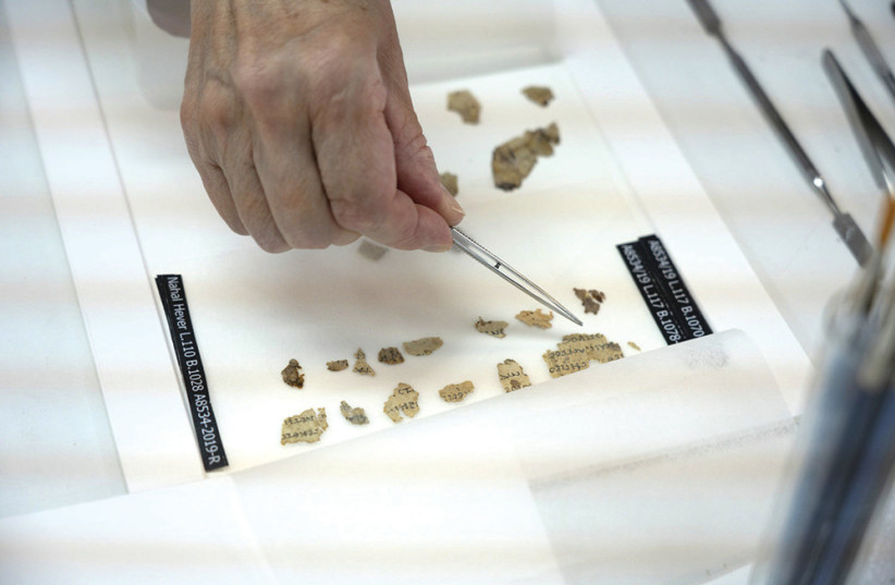 Fragments of the ancient texts found in the Cave of Horror  (photo credit: SHAI HALEVI / ISRAEL ANTIQUITIES AUTHORITY)