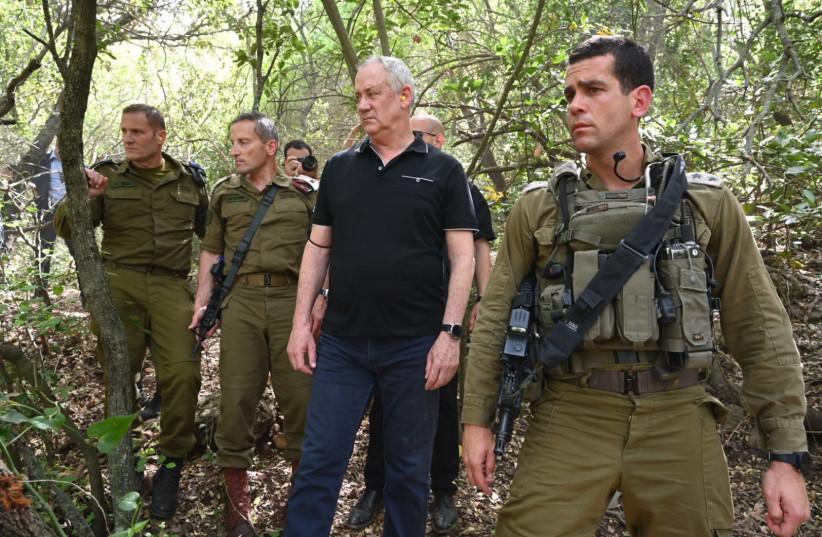 Defense Minister Benny Gantz tours IDF's Northern Command in April 2021. (photo credit: ARIEL HERMONI / DEFENSE MINISTRY)