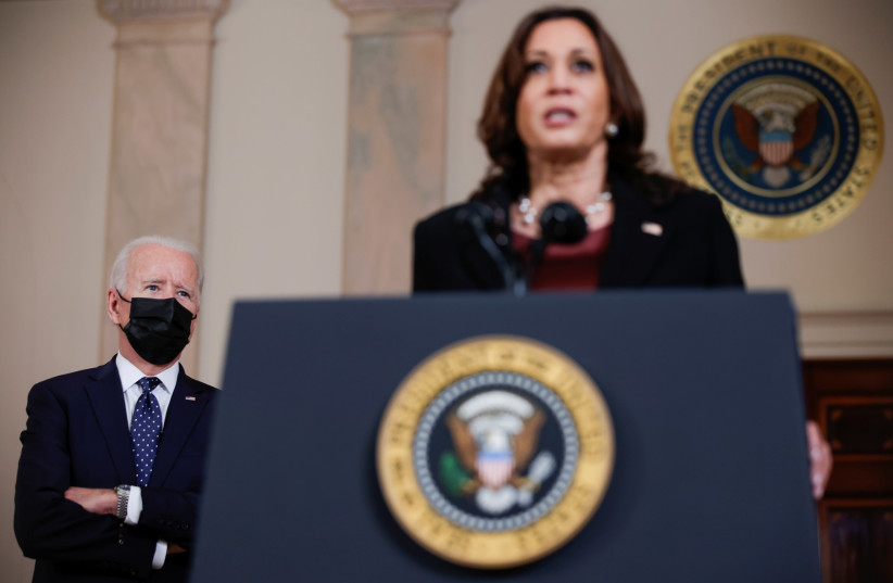 U.S. President Biden and Vice President Harris speak after guilty verdicts reached in trial of former Minneapolis police officer Chauvin at the White House in Washington (photo credit: REUTERS)