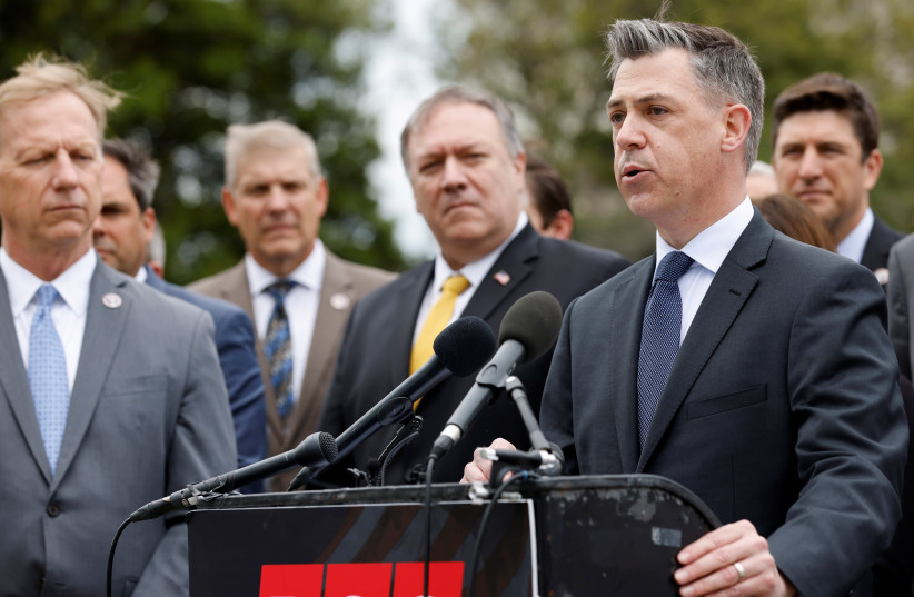 Republican Study Committee Chairman US Rep. Jim Banks (R-IN), joined by former Secretary of State Mike Pompeo, holds a news conference on the US posture towards Iran's nuclear program, at the US Capitol in Washington, US April 21, 2021. (photo credit: REUTERS/JONATHAN ERNST)