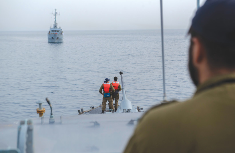 SOLDIERS ABOARD the 'INS Romah' during a drill this week. (photo credit: IDF)