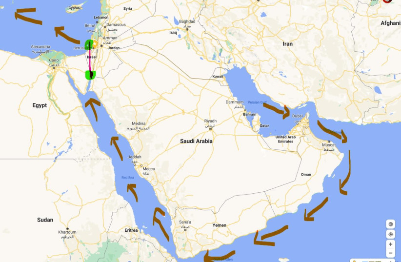 Map of the UAE oil transfer to Europe and Asia through Israel land-bridge. (photo credit: screenshot)