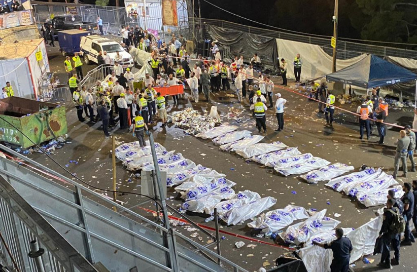 Israel works to identify 44 killed in Lag Ba'omer Mount Meron stampede (photo credit: ISHAI YERUSHALMI)