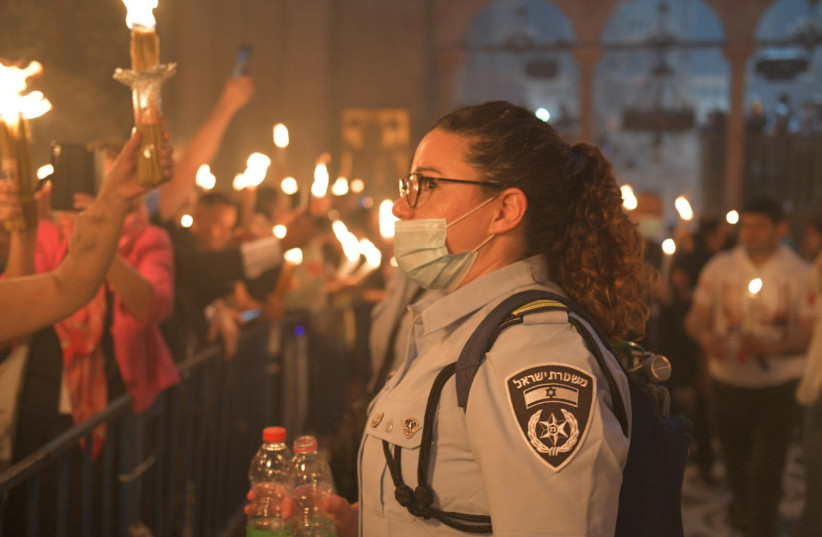 Holy Fire celebration at the Church of the Holy Sepulcher in the Old City of Jerusalem (photo credit: ISRAEL POLICE)