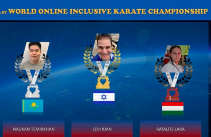 Idan Levi won a gold medal in the 2021 online inclusive karate world championship. (photo credit: screenshot)