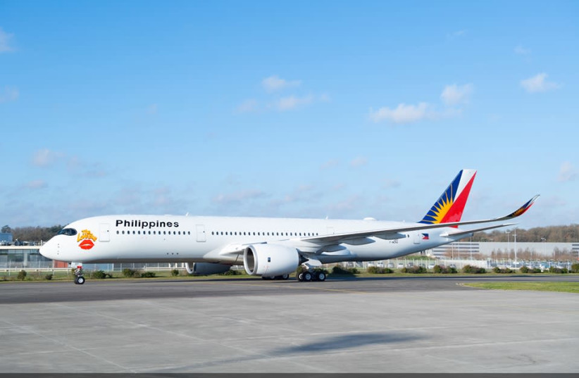 PAL's Airbus A350 for the upcoming Manila-Tel Aviv-Manila service (photo credit: Courtesy)