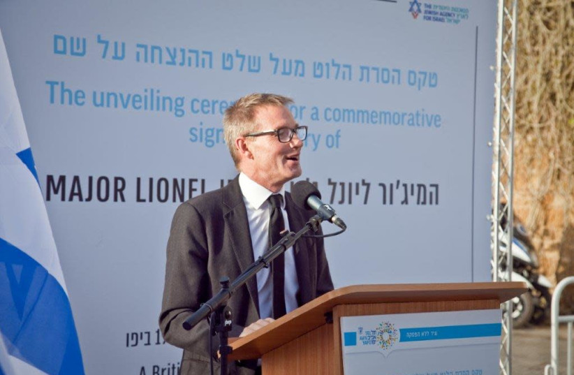 UK Ambassador to Israel Neil Wigan on Sunday evening posthumously honoured a British officer at the Jaffa port where he saved many Jewish lives during the May 1st riots 100 years ago. (photo credit: NOA GUTMAN)