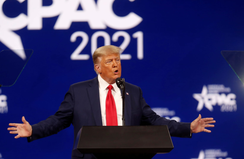 Former US President Donald Trump speaks at the Conservative Political Action Conference (CPAC) in Orlando, Florida, US February 28, 2021.  (photo credit: REUTERS/OCTAVIO JONES)