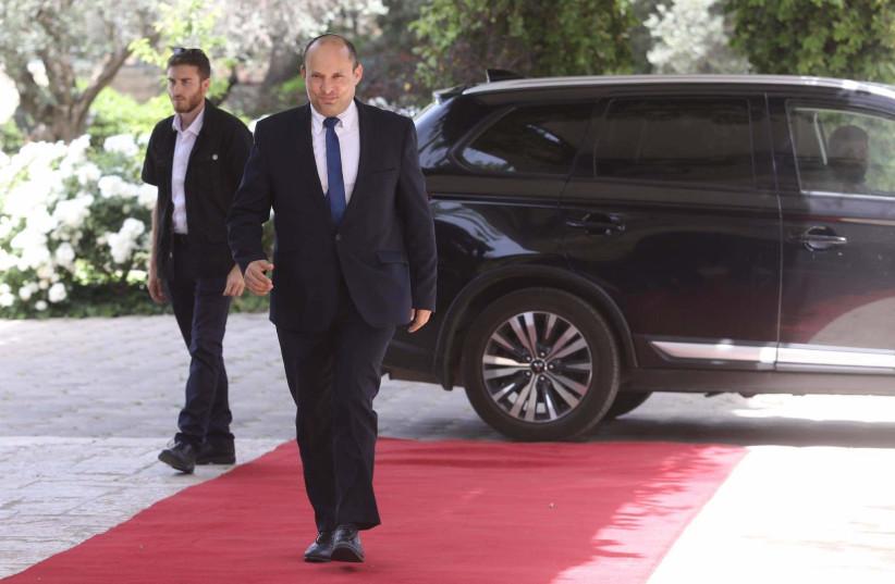 Yamina chairman Naftali Bennett arrives at the President's Residence, May 5, 2021. (photo credit: MARC ISRAEL SELLEM/THE JERUSALEM POST)