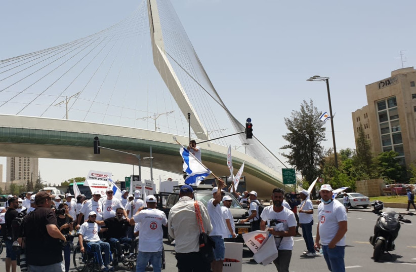 A protest by disabled IDF veterans in Jerusalem, May 5, 2021 (photo credit: IDF DISABLED VETERANS ORGANIZATION)
