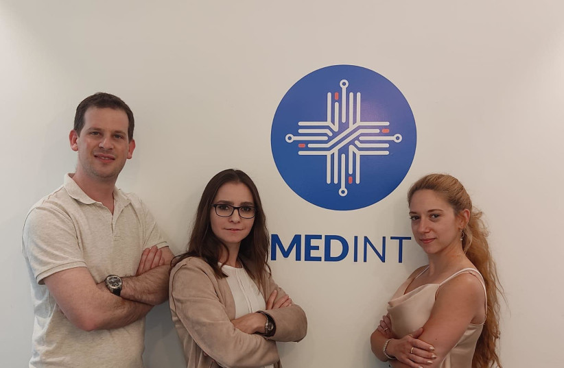 Left to right: Dr. Yotam Bronstein, Head of Research department at Medint, Tanya Attias - Co-founder and CEO, Noa Guzner, senior researcher. (photo credit: SHARON SHAMNI)