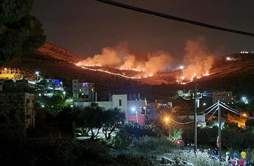 The fires near Burin (photo credit: B'TSELEM)