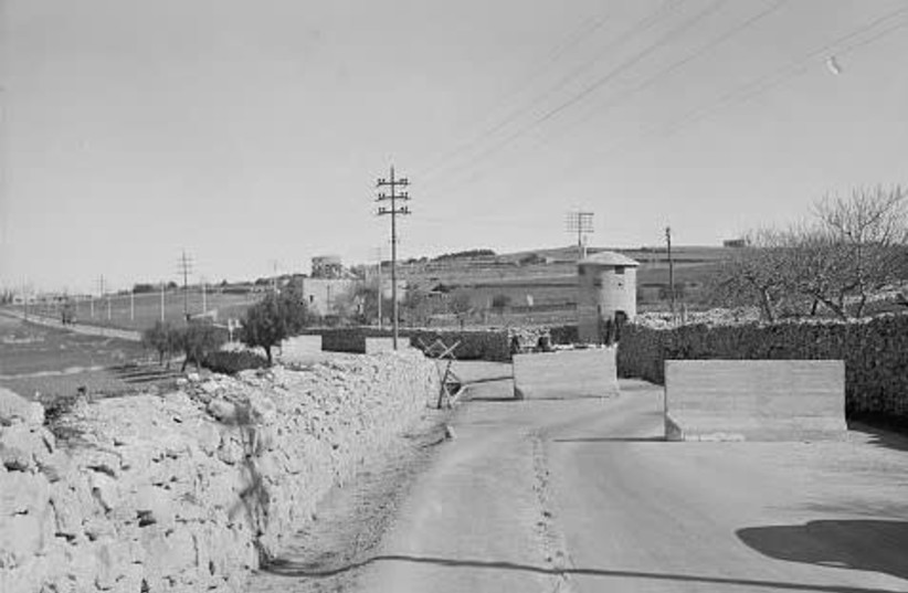 BETHLEHEM ROAD in the late 1930s (today the 'Bankim' Junction). Note the pillbox post (photo credit: MATSON PHOTOGRAPH COLLECTION. LIBRARY OF CONGRESS)