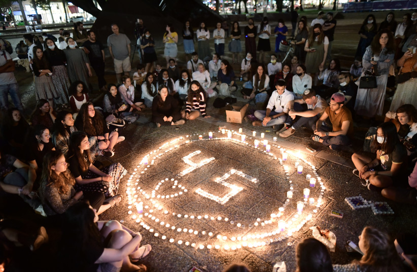 MEMORIALIZING THE 45 victims killed in the Meron stampede, at Tel Aviv's Rabin Square on May 2 (photo credit: TOMER NEUBERG/FLASH90)