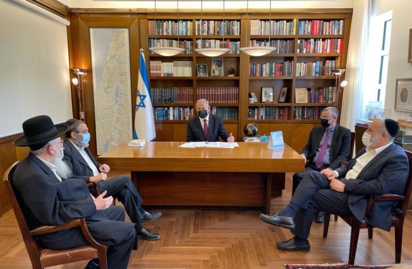 Prime Minister Benjamin Netanyahu meets with Shas leader Arye Deri, United Torah Judaism heads Moshe Gafni and Yaakov Litzman (photo credit: Courtesy)
