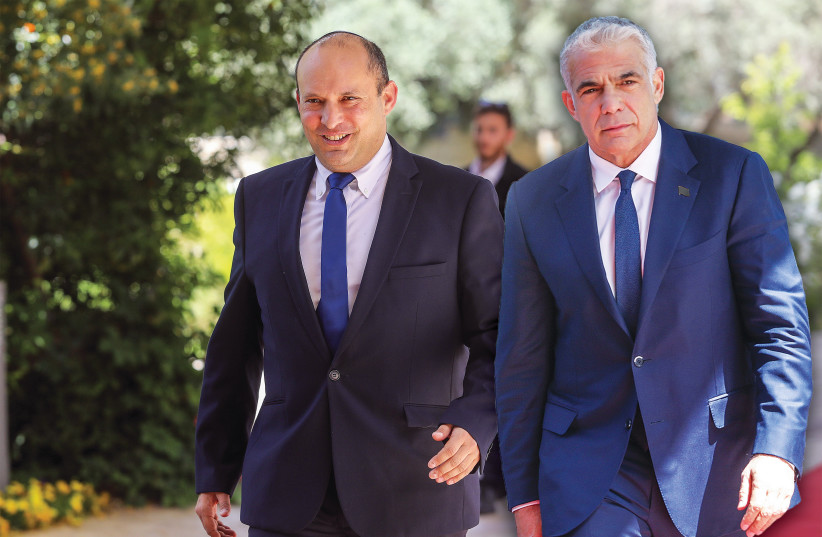 YESH ATID leader Yair Lapid and Yamina leader Naftali Bennett arrive at the President's Residence this week (composite photo). (photo credit: MARC ISRAEL SELLEM/THE JERUSALEM POST)
