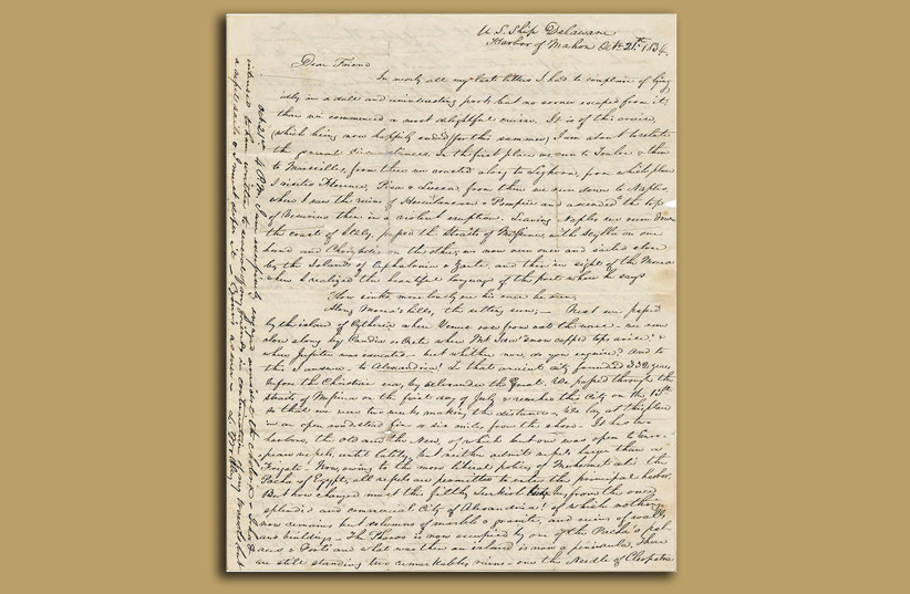 The first page of a newly discovered letter written by a passenger of the USS Delaware in 1834, following one of the first American voyages to Palestine. (photo credit: KEDEM AUCTION HOUSE)