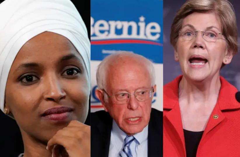 Ilhan Omar, Bernie Sanders and Elizabeth Warren (photo credit: CANVA.COM)