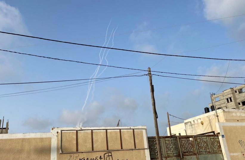 Hamas launches rockets at Israel from the Gaza Strip amid violence in Jerusalem on May 10, 2021 (photo credit: SUHAIB SALEM / REUTERS)