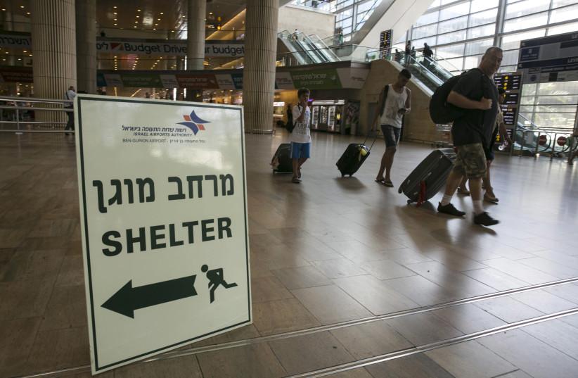 Bomb-shelter, Ben-Gurion Airport (photo credit: REUTERS/BAZ RATNER)