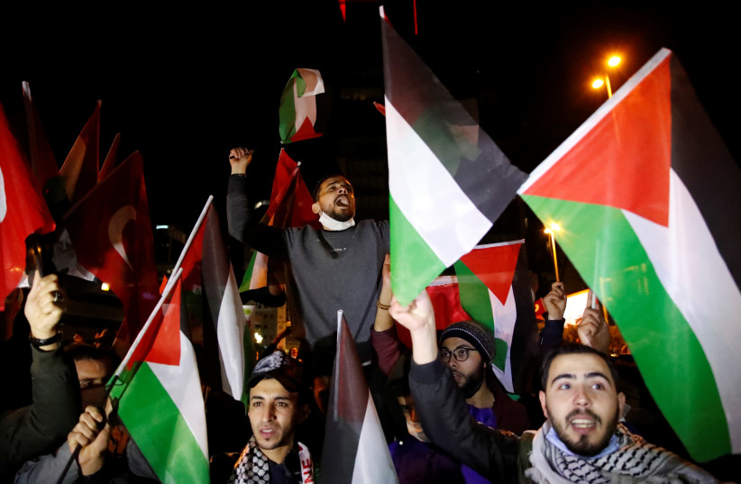 Pro-Palestinian demonstration near the Israeli Consulate in Istanbul (photo credit: REUTERS)
