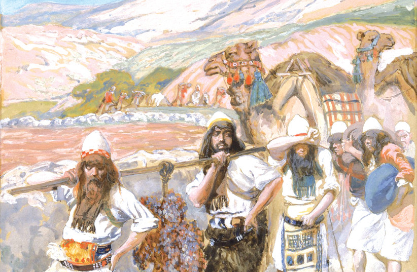 'The Grapes of Canaan' painted circa 1896-1902 by James Jacques Joseph Tissot, The Jewish Museum, New York. (photo credit: Wikimedia Commons)
